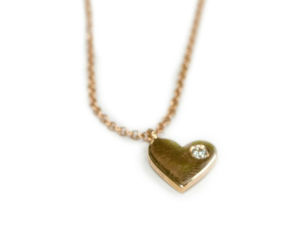 14kt Rose Gold Heart Diamond Pendant