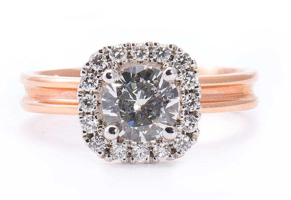 14kt Rose & White Gold Engagement Ring