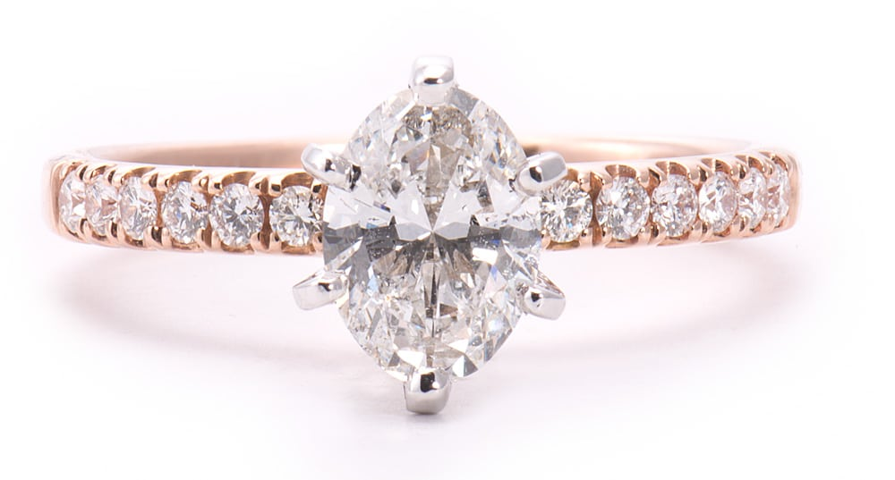 14kt White & Rose Gold 6 Prong Engagement Ring