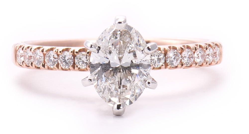 14kt White & Rose Gold 6 Prong Engagement Ring