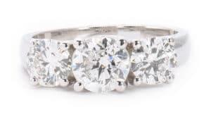 14kt White Gold 3 Stone Engagement Ring