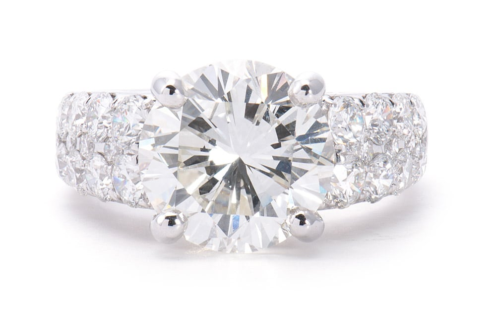 18kt Double Row Engagement Ring