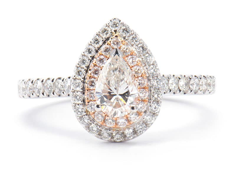 14kt Rose & White Gold Double Halo Engagement Ring