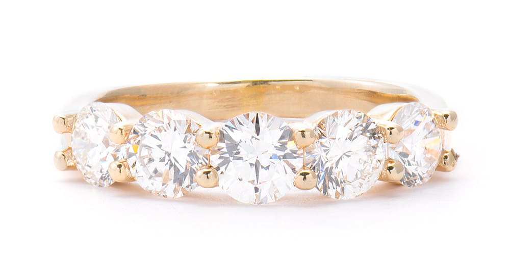 14kt Yellow Gold 5 Stone Forevermark Wedding Band