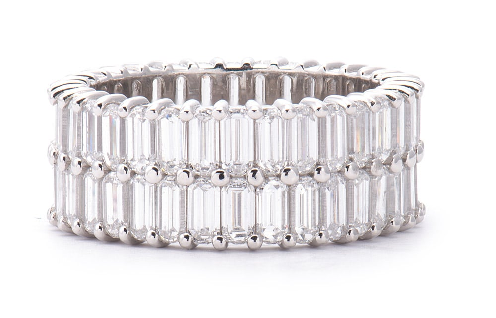 Platinum Double Row Diamond Eternity Band