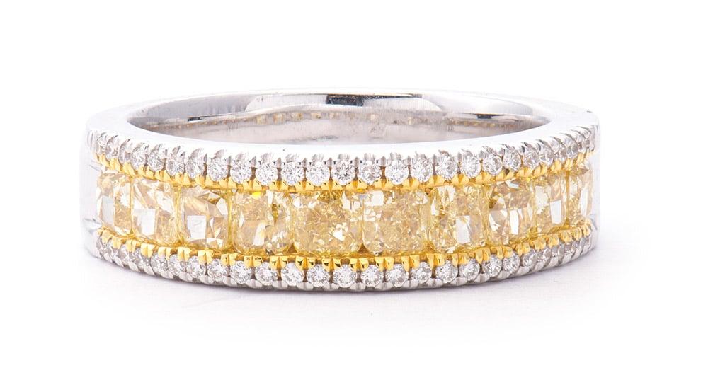 Two-Tone 18k Band w/ Cushion Cut Yellow Diamonds