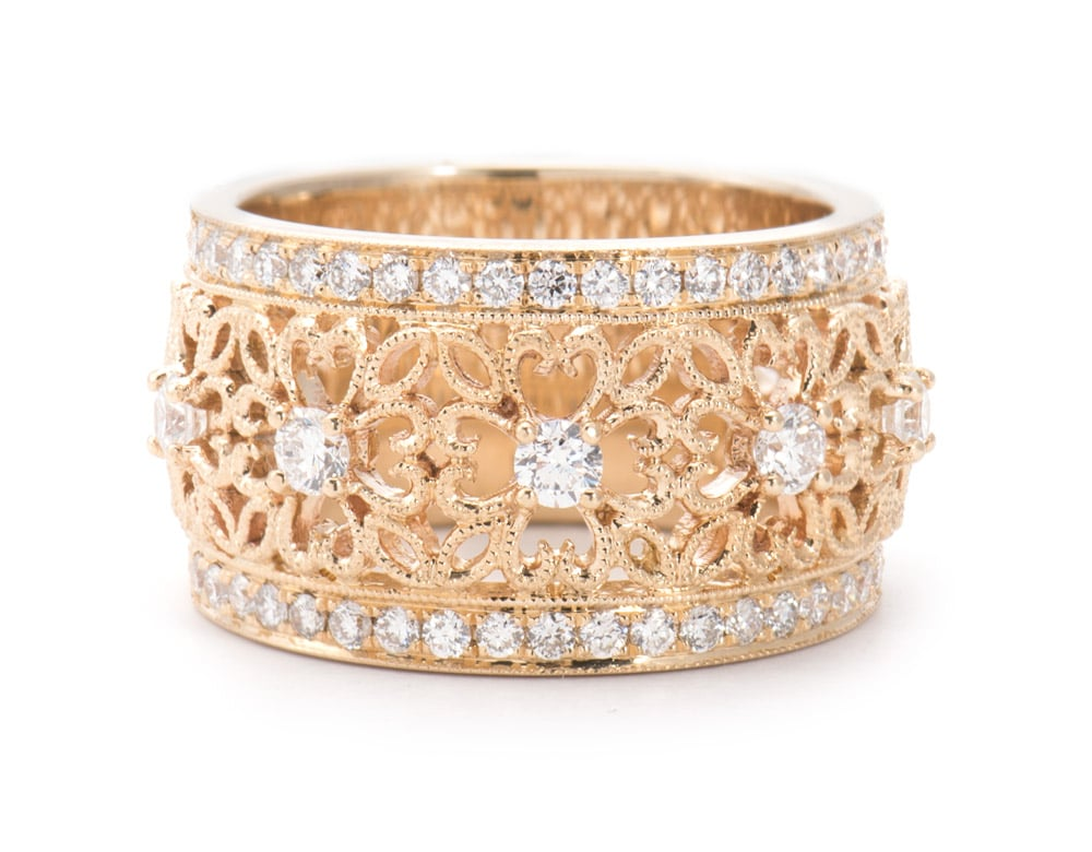 14kt Filigree Wide Fashion Diamond Ring