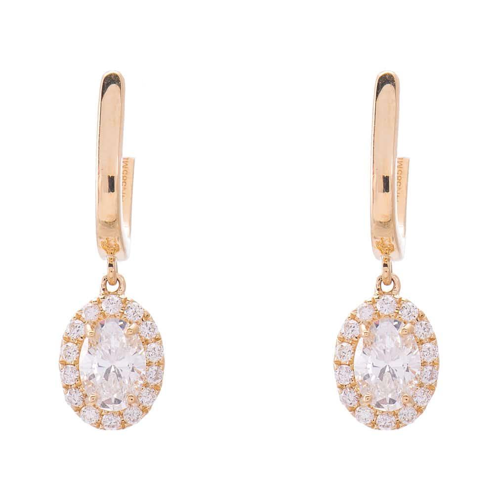 14kt Yellow Gold Diamond Halo Dangle Earrings