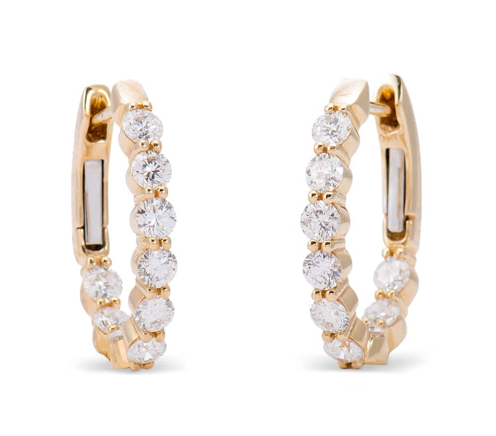 18kt Yellow Gold Inside/Outside Hoop Earrings