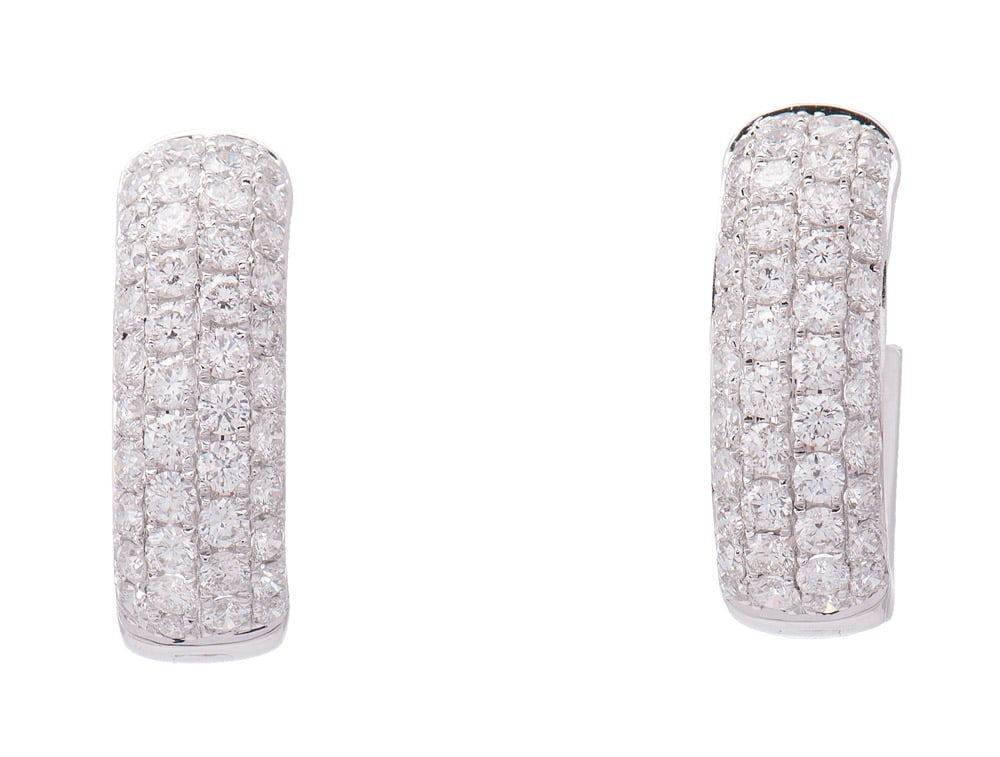 18kt Hinged Diamond Hoop Earrings