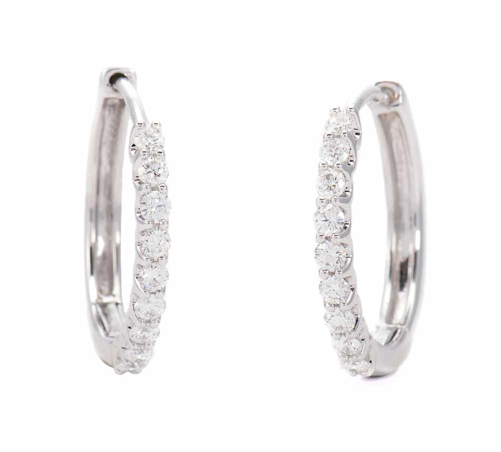 18kt White Gold Diamond Hoop Earrings