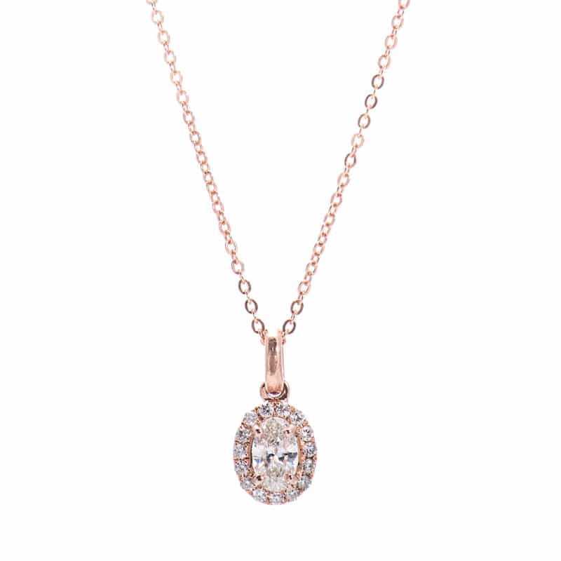 14kt Rose Gold Diamond Pendant with Oval Center Stone