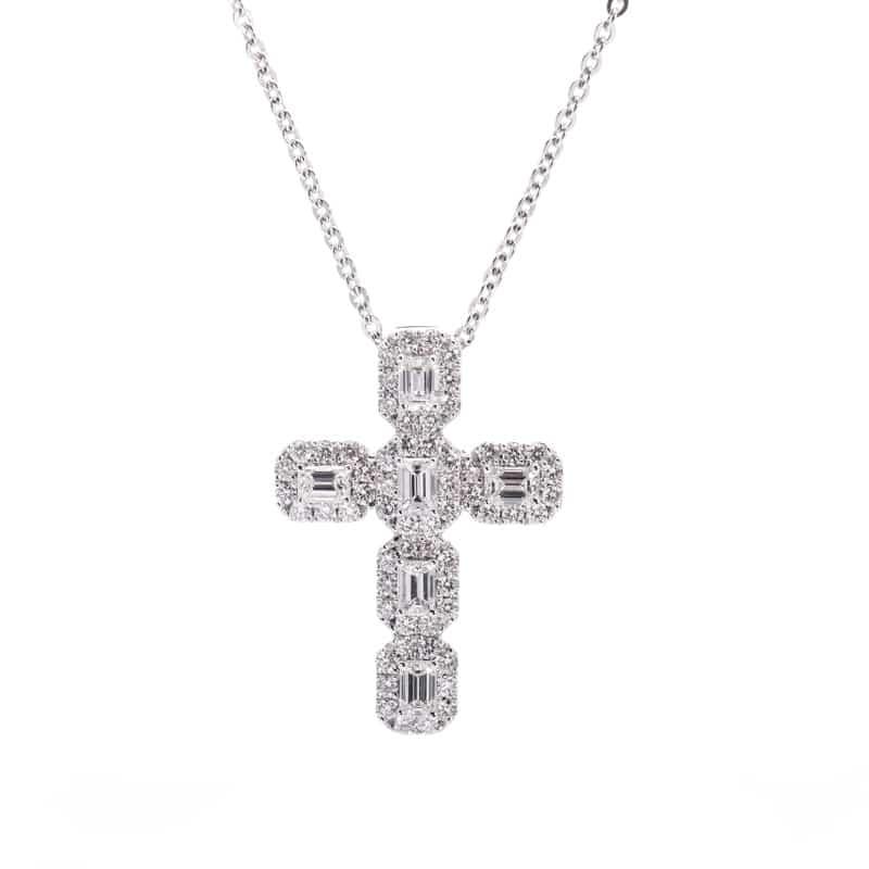 18kt White Gold Emerald Cut Diamond Pendant