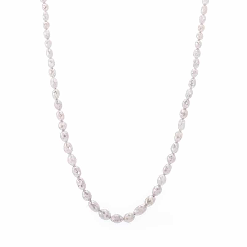 14kt White Gold Graduated Oval Gray Diamond Necklace