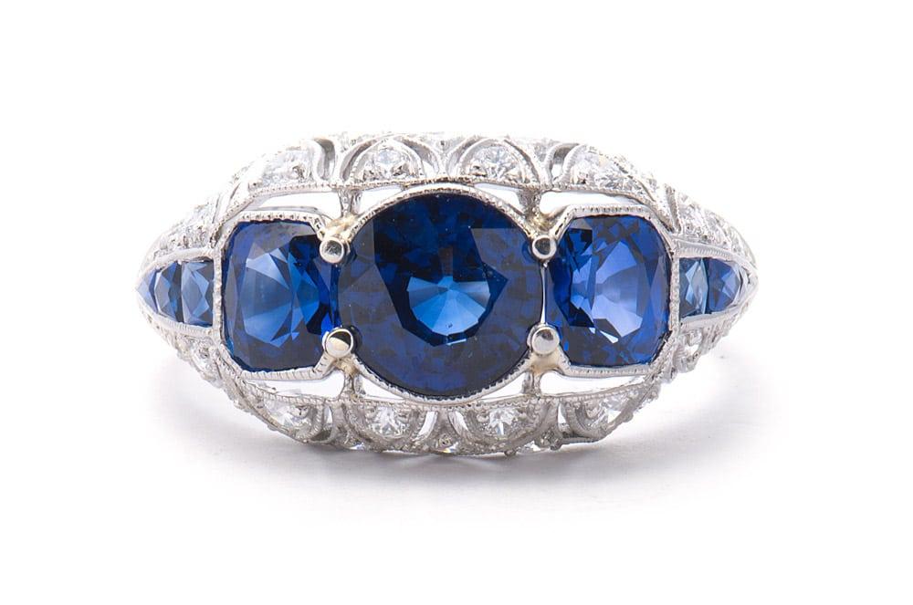 Platinum Filigree Antique Fashion Ring