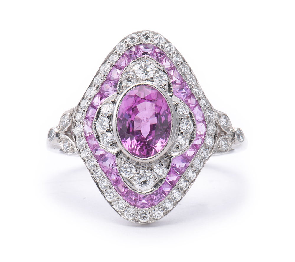 Platinum Fashion Ring with Oval and Fancy Cut Pink Sapphires and Diamonds