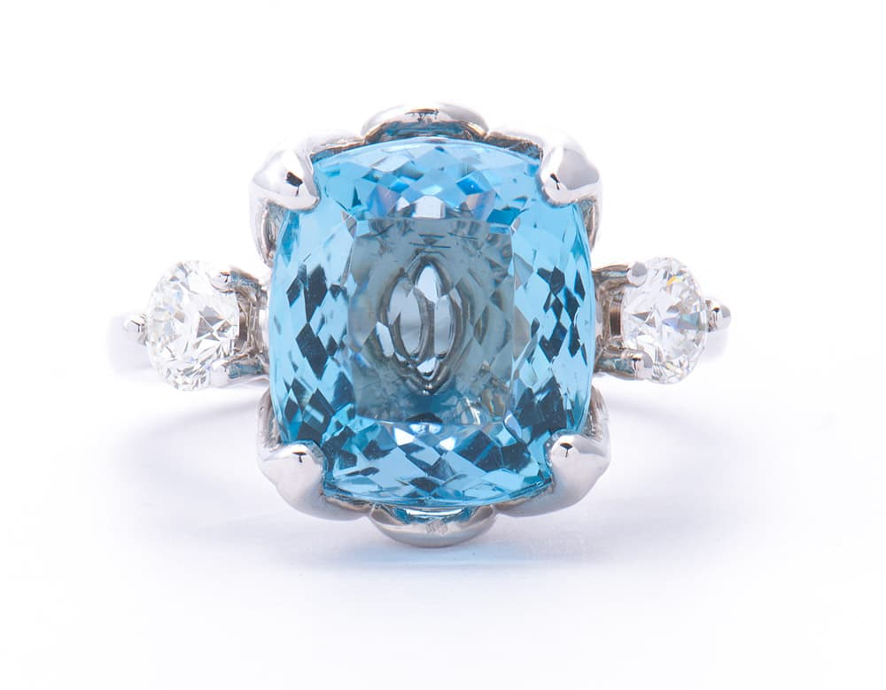 14kt White Gold Fashion Ring w/ 5.5ct Cushion Cut Aqua & Diamonds