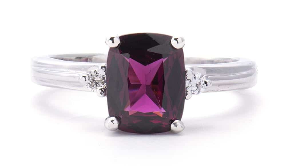 14kt White Gold Fashion Ring with Grape Garnet & Diamonds