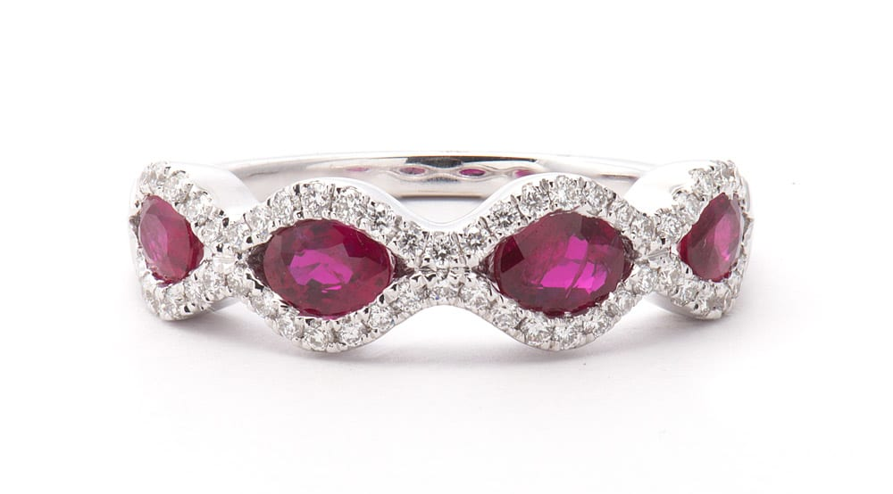 14kt White Gold Fashion Ring with Oval Rubies and Round Diamonds