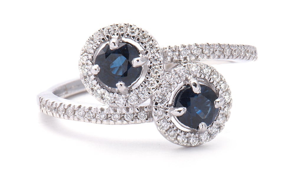 14kt White Gold Fashion Ring with Round Sapphires & Diamonds