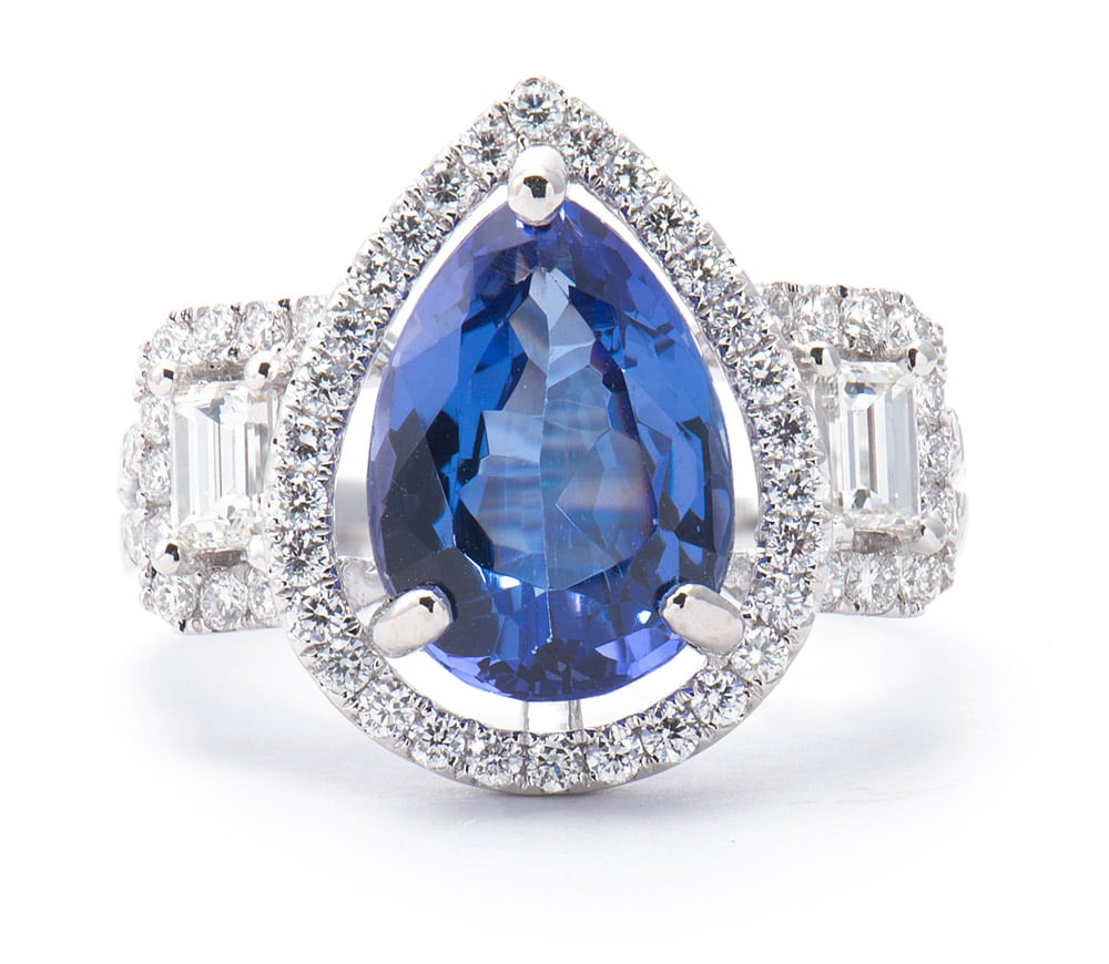 18kt White Gold Halo Fashion Ring Pear Shaped Tanzanite & Diamonds