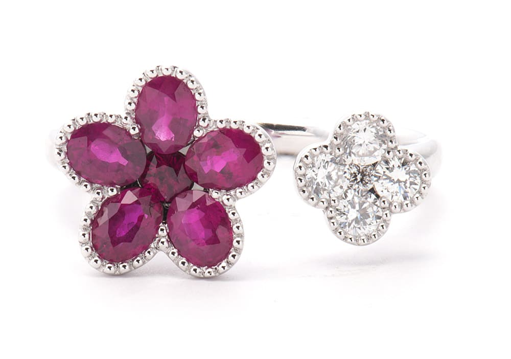 18kt White Gold Cuff Flower Fashion Ring with Rubies & Diamonds