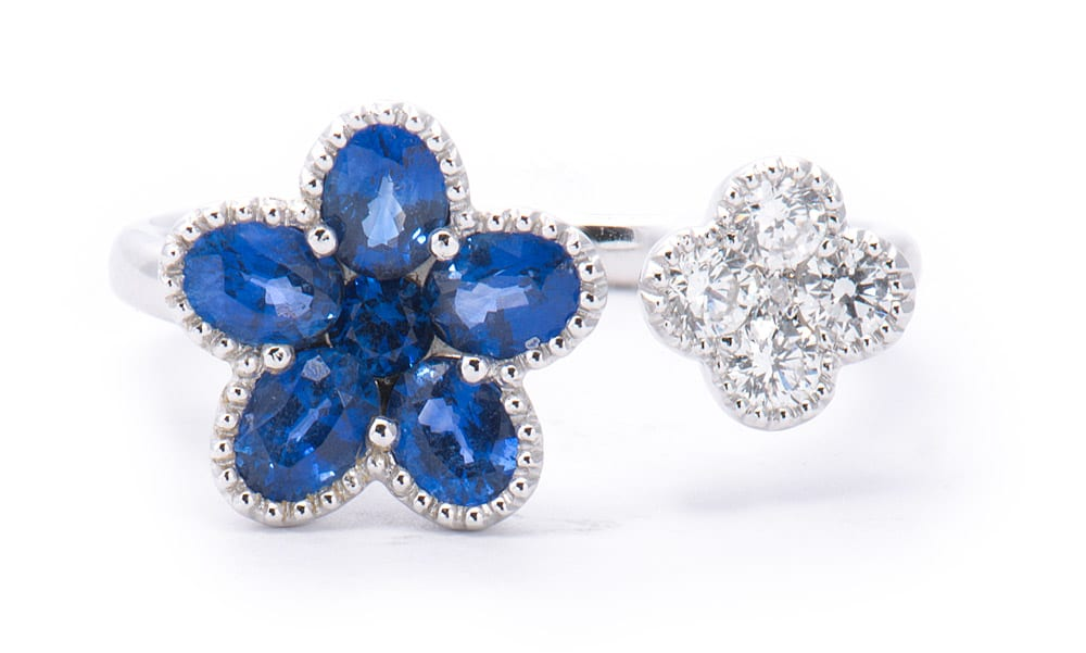 18kt White Gold Cuff Flower Fashion Ring with Sapphires & Diamonds