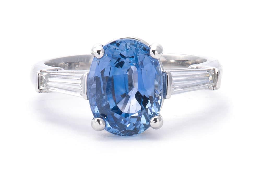 Platinum 3 Stone Ring with Sapphire and Diamonds