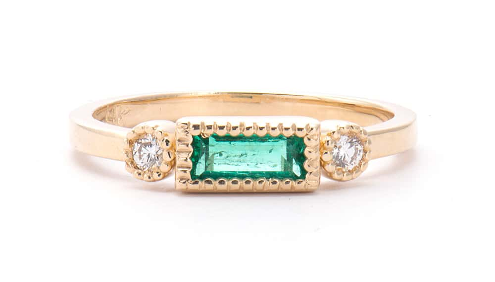 14kt Yellow Gold Fashion Ring with Emerald