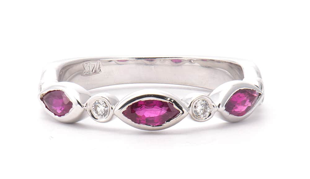 14kt White Gold Fashion Ring with Rubies & Diamonds
