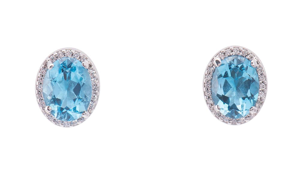 14kt White Gold Oval Shape Blue Topaz Earrings