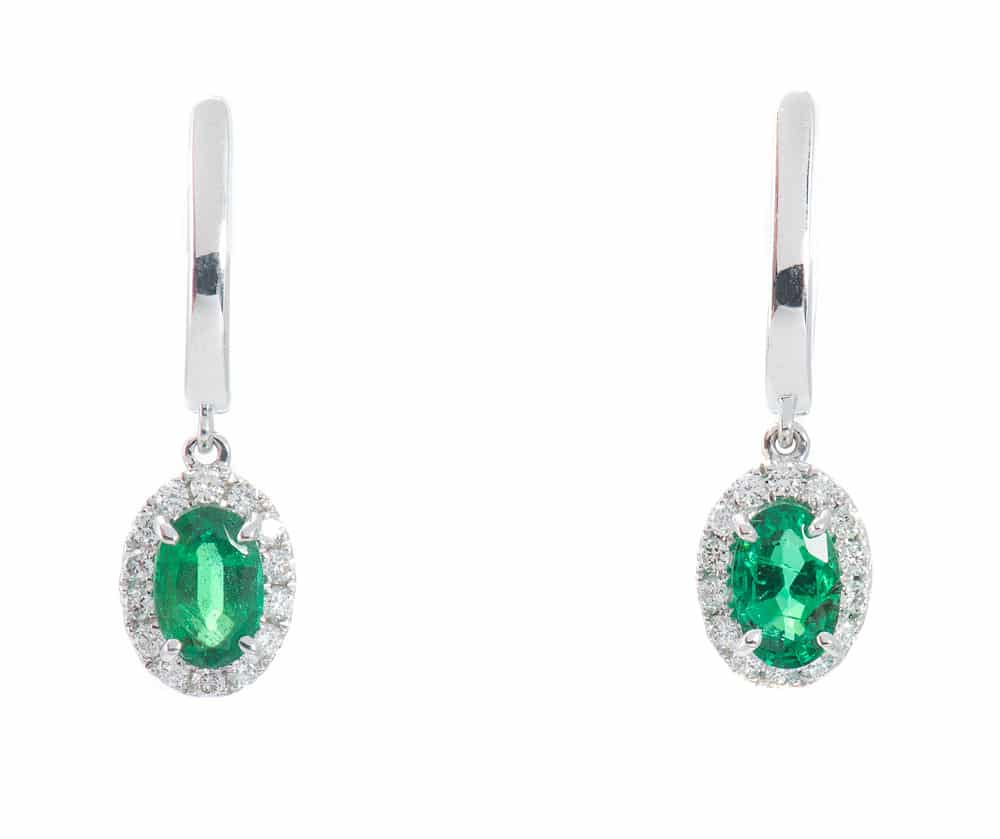 14kt Halo Earrings with Emeralds & Diamonds