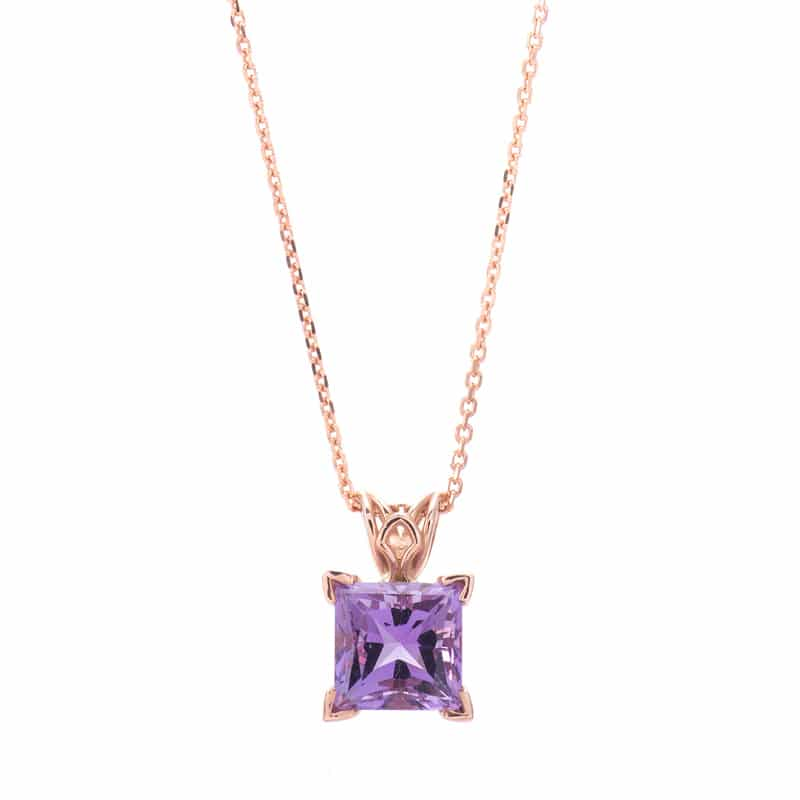 14kt Rose Gold Pendant with Princess Cut Amethyst