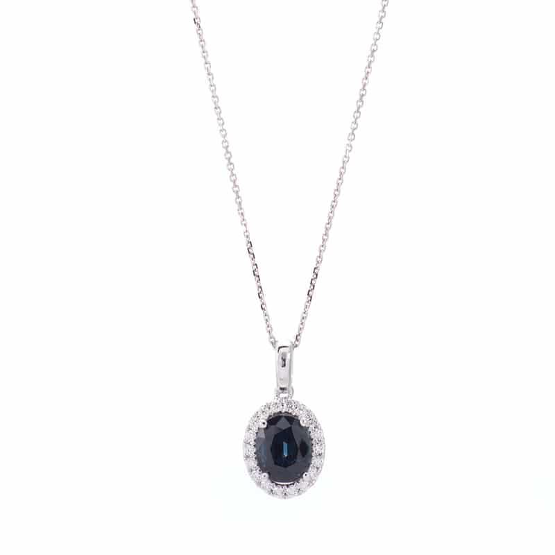 14kt White Gold Halo Pendant with Sapphire & Diamonds