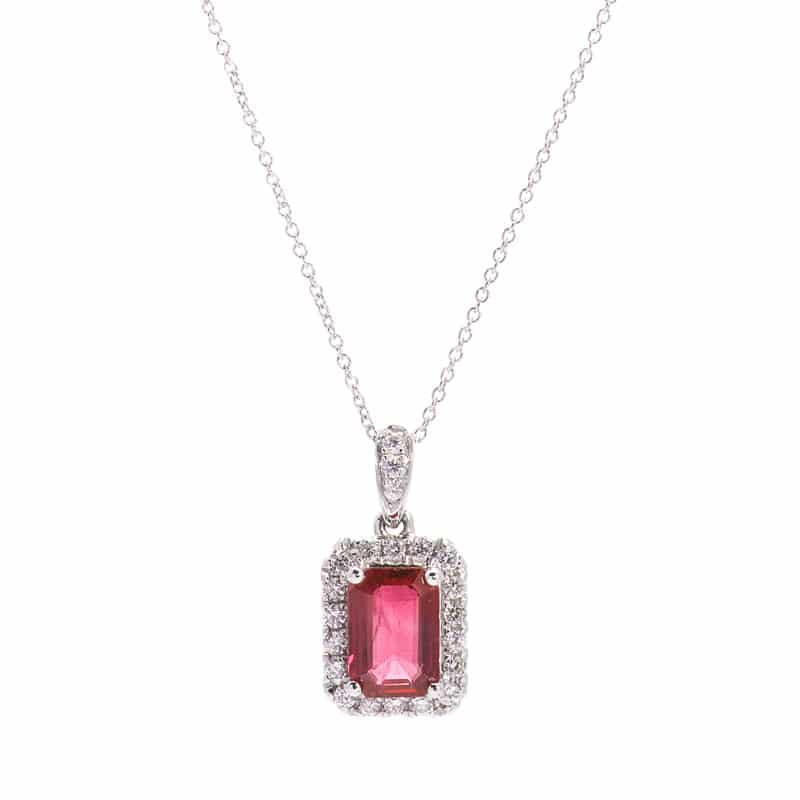 18kt White Gold Emerald Cut Necklace with Ruby and Diamonds