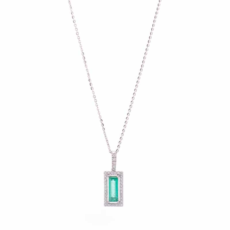 14kt White Gold Halo Pendant with Emerald & Diamonds