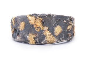 Oxidized/Yellow Stainless Steel 18kt Textured Band