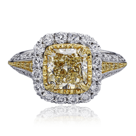 Christopher Designs ring with Fancy Light Yellow diamond center