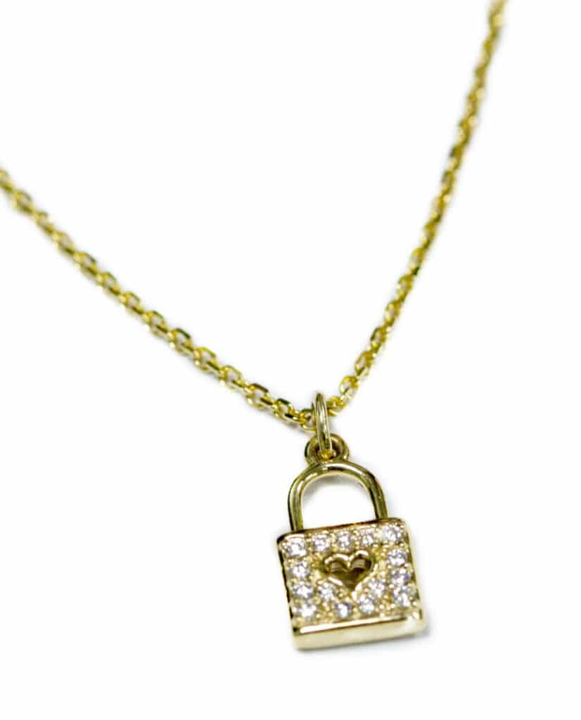 14kt Yellow Gold Heart Lock Diamond Pendant