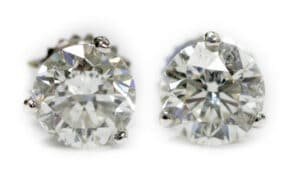 14kt 3 Prong Diamond Stud Earrings
