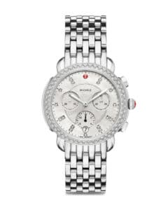Stainless Steel Mother of Pearl Diamond Dial Sidney Chronograph Michele Watch