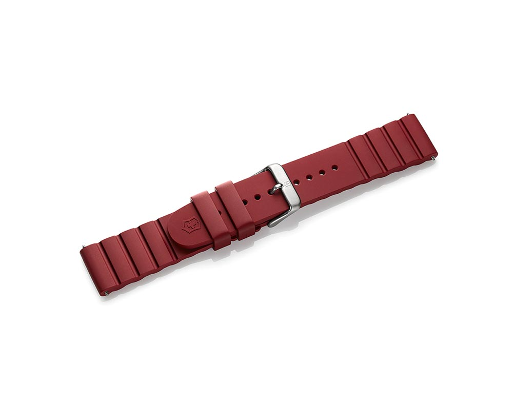 Red 21Mm Rubber INOX Strap