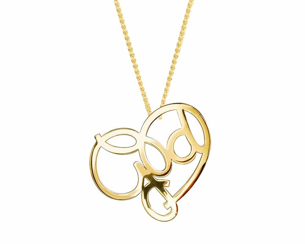 Heart Lines™ My Heart, My God Pendant 14kt Yellow Gold