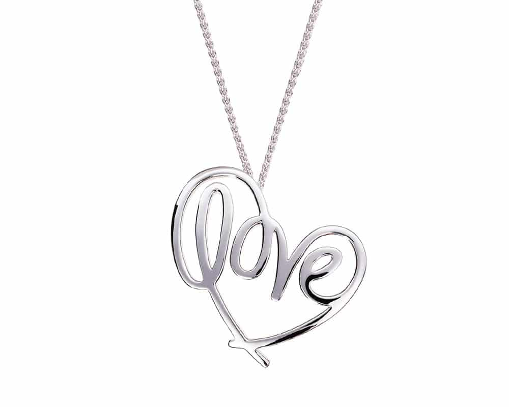 Heart Lines™ Medium My Heart, My Love Pendant Sterling Silver