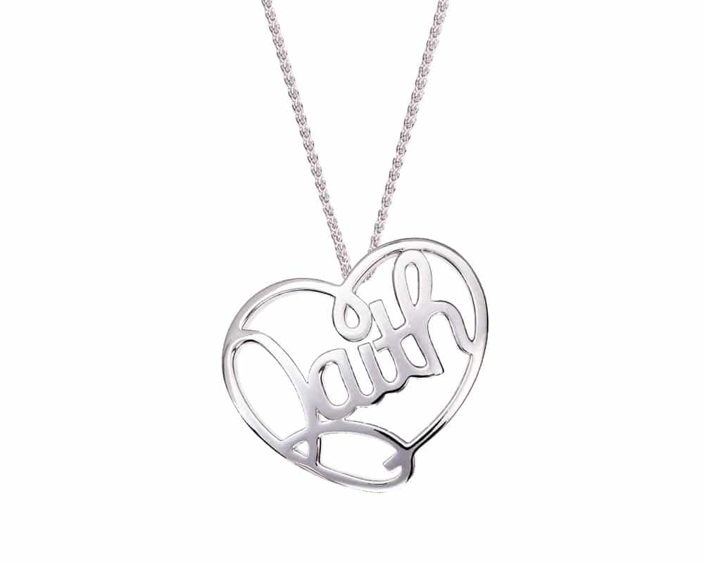 Heart Lines™ Medium My Heart, My Faith Pendant Sterling Silver