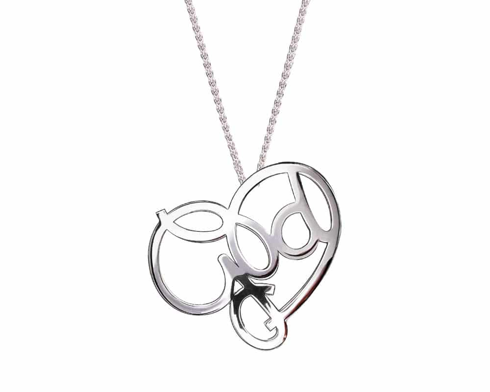 Heart Lines™ Medium My Heart, My God Pendant Sterling Silver