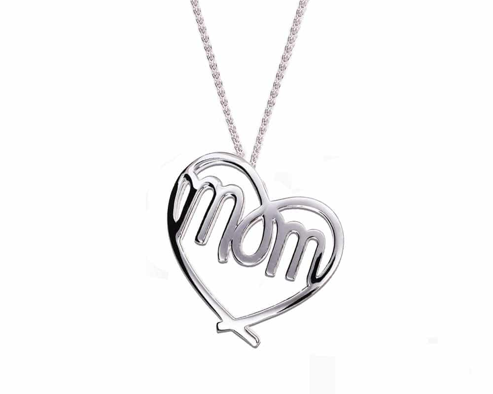 Heart Lines™ Large My Heart, My Mom Pendant Sterling Silver