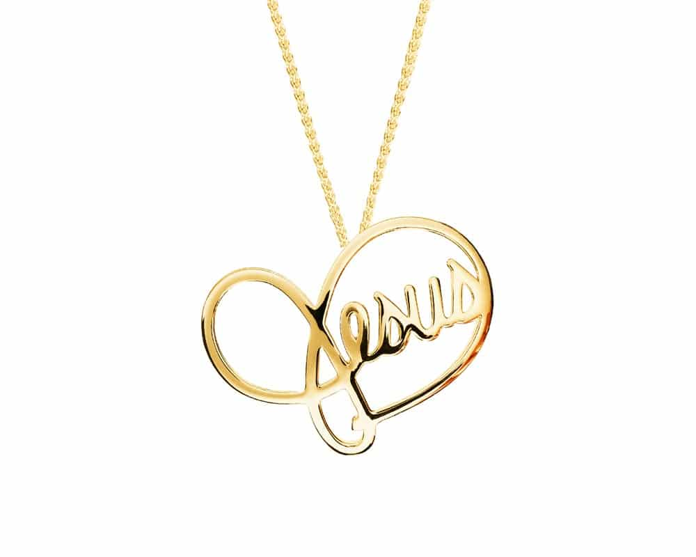 Heart Lines™ Small My Heart, My Jesus Pendant 14kt Yellow Gold