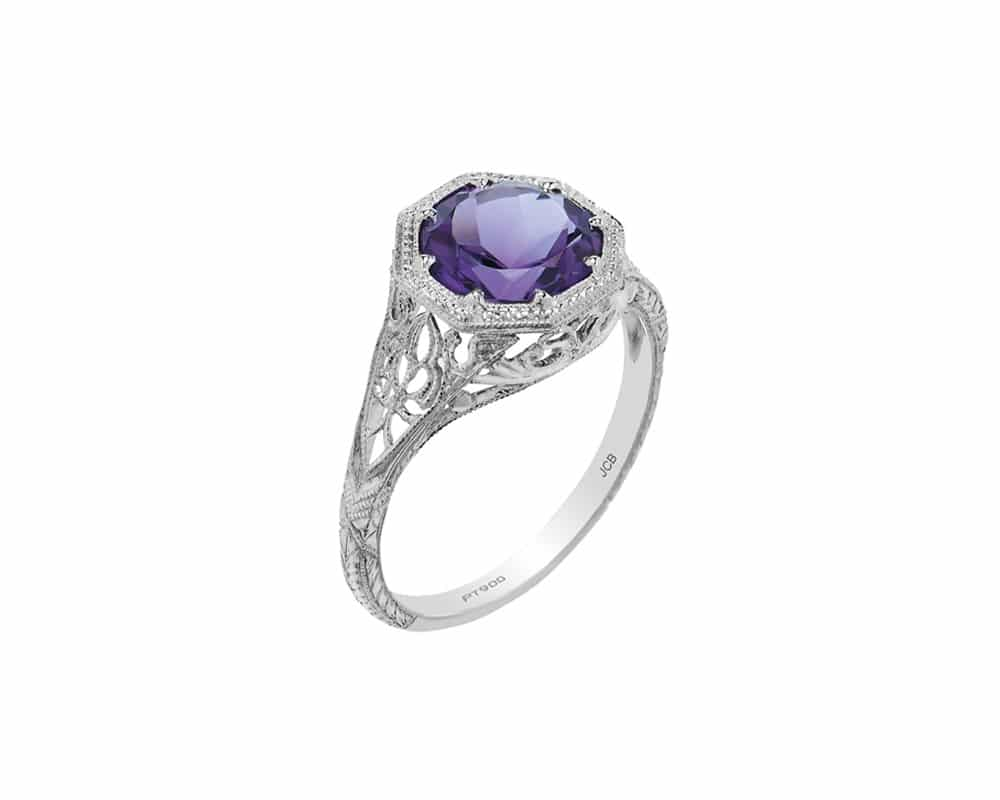 14kt White Gold Engraved Fashion Ring with Round Amethyst