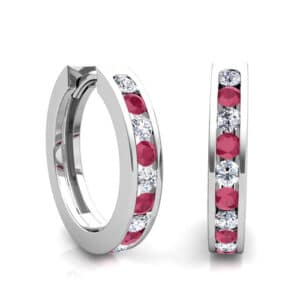 Diamond and Ruby Channel Set Earrings